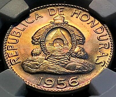 1956 Honduras 10 NGC MS64 Awesome Toning, Scratch-Free Holder CHN