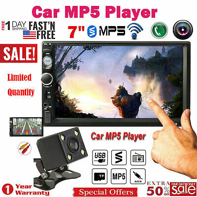 """7"""" 2DIN Car MP5 Player Bluetooth Touch Screen Stereo Radio FM USB TF Free Camera"""