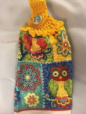 Owl Elegance Flowers Crochet Top Hanging Kitchen Dish Towel By Laura