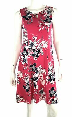 JM Collection Womens Floral Pink Dress 47944 Sleeveless Fit Flare Keyhole PS