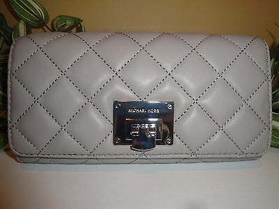 675f93bfcea841 MICHAEL KORS ASTRID Carryall Wallet Quilted Grey Gray Leather Silver $198 -  $77.99   PicClick