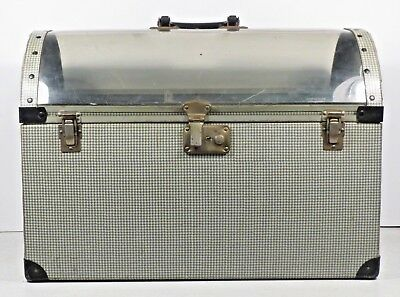 Vintage Antique Pet Carrier Grey White Houndstooth Pattern clear top cat dog