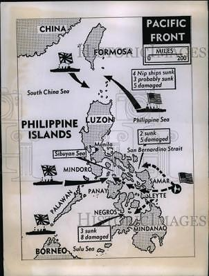 1944 Press Photo Japanese Fleet Was Defeated & Damaged in Philippines