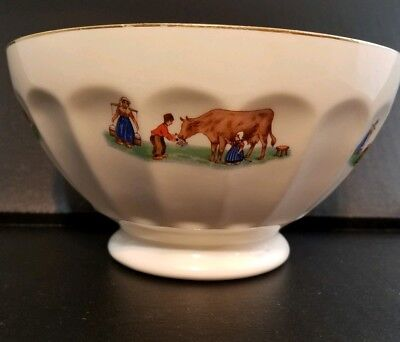 Vintage Porcelain Bowl Milkmaid Cow Children Dairy Farm Country French