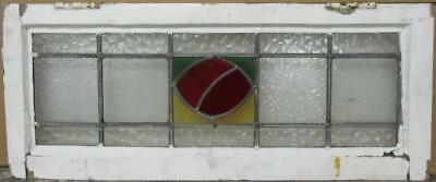 """OLD ENGLISH LEADED STAINED GLASS WINDOW TRANSOM Cute Abstract Design 30"""" x 12.5"""""""