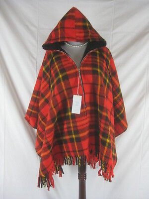 Vtg 60s 70s Red Plaid Womens Vintage NOS NWT Dead Stock Poncho Cape