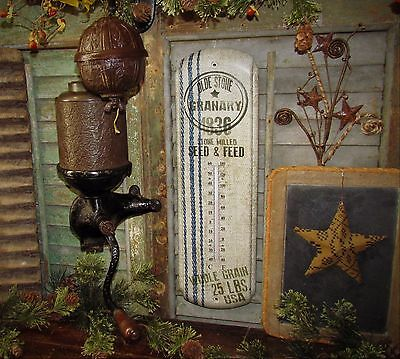 Primitive Antique Vtg Style Farmhouse GRAIN SACK 1836 SEED Thermometer Gift Idea