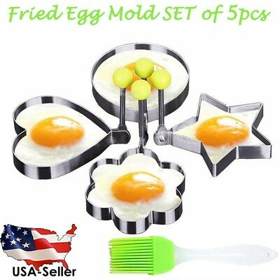 Set of 5pcs - Fried Egg Mold - Steel Fried Egg Rings for Pancake Baking Egg