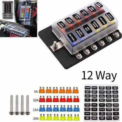 12 Way Car Auto Boat Bus UTV Blade Fuse Box ATO ATC Block Holder Cover 12V + LED