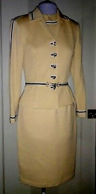 St. John Collection Marie Gray Gorgeous GOLD Below-knee Knit DRESS SUIT ~ 2
