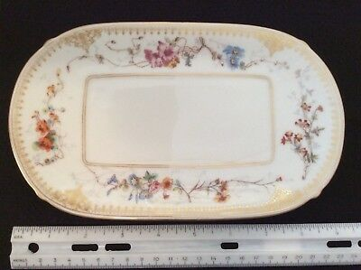 Small Antique Porcelain J.P.L. Limoges Oval Tray Trinket Dish Hand Painted