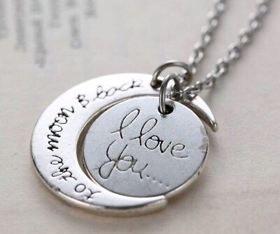 Beautiful HAND CRAFTED Silver Plated I Love You To The Moon And Back Necklace