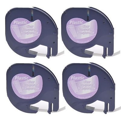4PK Plastic Label Tape 12267 for DYMO Letra Tag 16952 Black on Clear 12MM