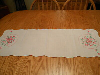 "Vintage 12""x 34"" Embroidered & Cross Stitched FLORAL white DRESSER SCARF NICE!"