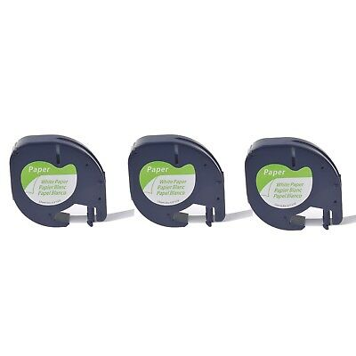 3PK Paper Label Tape for DYMO Letra Tag QX50 LT 91330 Black on White 12mm