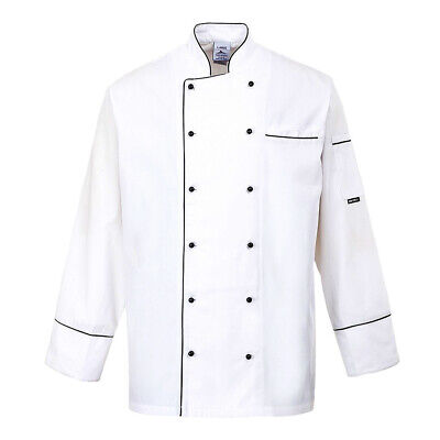 Chef Jacket Coat Long Sleeve White Black Trim Uniform Cook Kitchen Portwest Sml