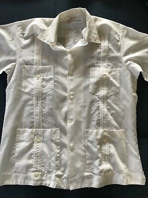 Vintage1970s Men's Size S-M Safari Shirt Made Thailand Fancy Embroidered Design
