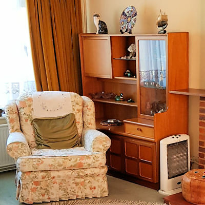 """Vintage Retro Parker Knoll """"Nathan"""" Solid Teak Compact Wall Cabinet Unit (1714)"""