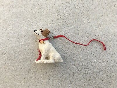 Cute Breyer Horse Accessory Resin Dog Jack Russell Terrier Red Collar Lead