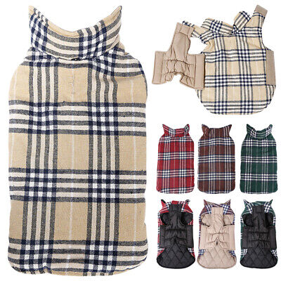 Plaid Style Reversible Design Pets Dog Puppy Cold Weather Outdoor Coat Jackets