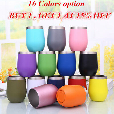 12oz Stainless Steel Wine Glass Beer Cup Tumbler Sippy Cup with Lid Elegant Lot