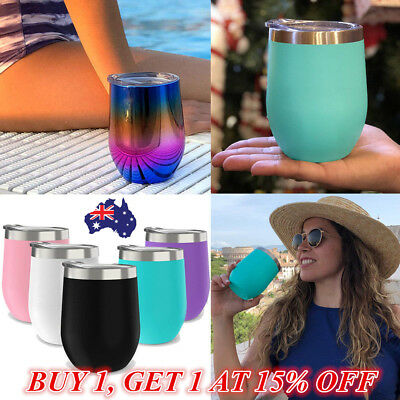 Cocktail Wine Glass Lid 12oz Stainless Steel Insulated Wine Cup Tumbler Gift NEW