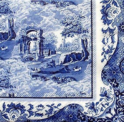 NEW Spode Blue Italian Cocktail Beverage Napkins 20 Count