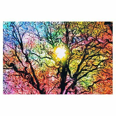 5X(Psychedelic Trippy Tree Abstract Sun Art Silk Cloth Poster Home Decor 50cmR3)