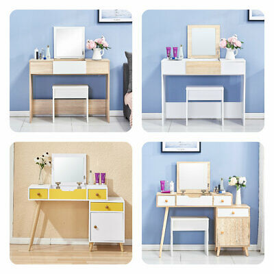 Vanity Dressing Table Set with Stool Mirror Make Up Bedroom Furniture New White