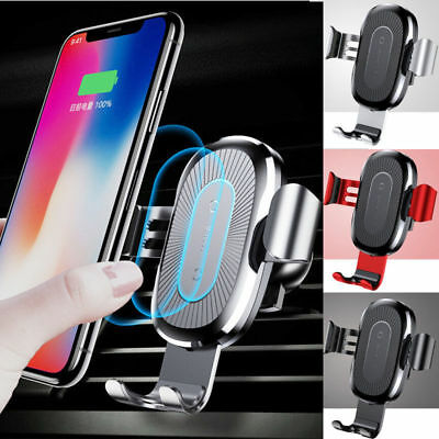US Baseus Qi Wireless Automatic Clamping Fast Car Charger Mount Holder Stand