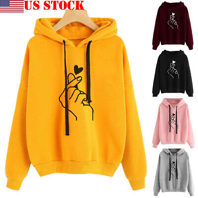 Women's Long Sleeve Hoodie Sweatshirt Hooded Jumper Sweater Pullover Tops Coat