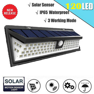 SOLAR 120 LED Solar Lights PIR Motion Sensor Waterproof 3 Mode Outdoor Wall Lamp