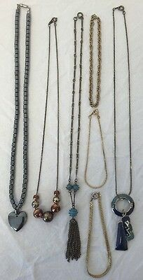 7 Piece Assorted Lot 4 Necklaces 3 Bracelets Vintage Craft Costume Jewelry Set
