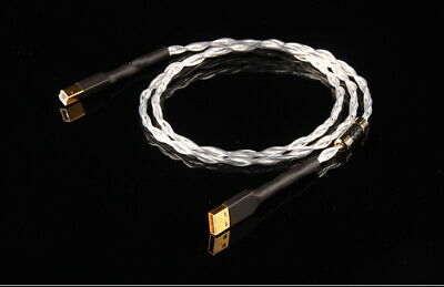 pp031 Audio USB Data DAC Cable AB A to B 8N OCC Silver Plated Tf Wire