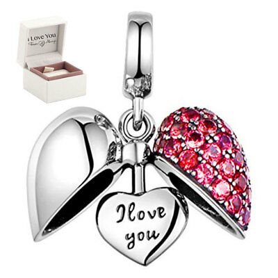 'I Love You' Silver Heart Charm Bead, Wife Girl Best Friend Sister Mum Daughter