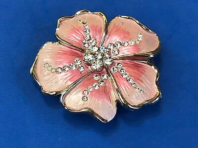 Vintage?  Cut out figural 3D Pink Flower with rhinestone accents Belt Buckle