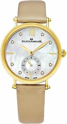 Alexander Monarch Roxana White Mother of Pearl Large Face Stainless Steel Plated