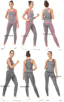 Ladies Girls Gym Wear FULL SET Yoga PANTS & Vest Stretchable BREATHABLE SUMMER
