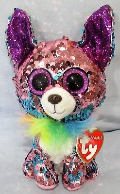 "YAPPY - CHIHUAHUA DOG - Ty FLIPPABLES Sequin Beanie 6"" Boos - NEW with MINT TAGS"