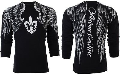 Xtreme Couture Affliction Mens L/S T-Shirt AEROSMITH Wings BLACK Biker S-3XL $58