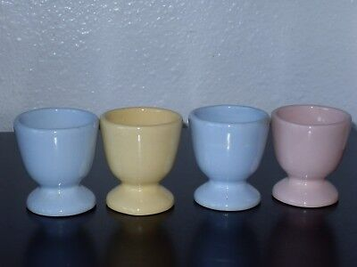 Set of 4 Pastel Colors Ceramic Egg Cups ~ not marked