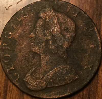 1734 Uk Gb Great Britain Geo Ii Halfpenny