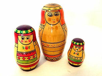 Set of 3 Russian Nesting Dolls Mother & Children Vintage Hand Painted Wooden
