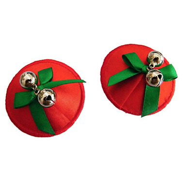 Red Jingle Bells Christmas Nipple Covers Pasties Tassels Reusable Burlesque Xmas