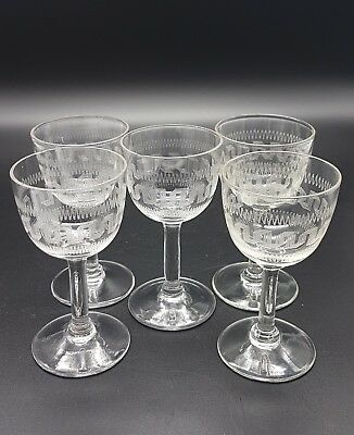 Victorian or Edwardian small wine or sherry glasses