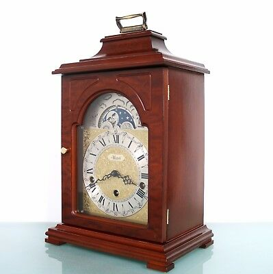 German HERMLE CLOCK TRIPLE CHIME Mantel MOONPHASE Westminster Vintage SERVICED!