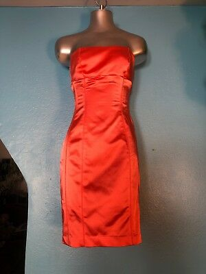 Sexy Bebe Coral Pink Satin Strapless Bodice Corset Dress Knee Length Size M