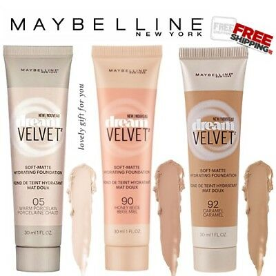 New Maybelline Dream Velvet Soft-Matte Hydrating Foundation 30ml Select 05 90 92