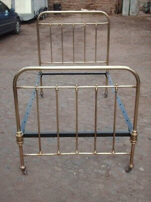 Antique Victorian Brass And Iron Large Single Bed 3' 6""