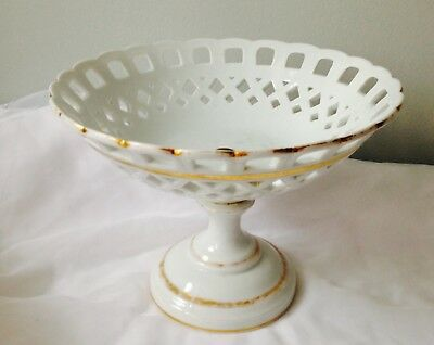 Paris Porcelain Lattice White Compote Fruit Bowl Tazza Holiday Centerpiece Decor